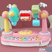 電子琴兒童多功能花朵旋轉動物音樂琴 嬰幼兒樂園玩具琴 易家樂