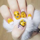 指甲片 - 黃色短款兒童可愛卡通美甲貼片日系成品美甲甲片24片盒裝【韓衣舍】