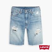 Levis 男款 412膝上牛仔短褲 / 修身窄管版型 / 精工貓鬚開口破壞 / 褲管不收邊 /