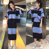 VK旗艦店 韓系POLO領拼色針織套裝短袖裙裝