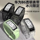 透明冰川華為b6/b5/b3手環表帶手表帶金屬腕帶高端硅膠男女替換帶鋼表帶【輕派工作室】