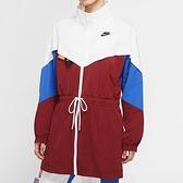Nike AS W NSW 女子 酒紅藍 撞色 長版 立領 梭織 長袖 風衣 外套 CJ2047-100