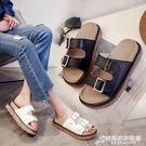 涼拖鞋女夏季時尚外穿鬆糕厚底皮帶扣涼鞋學生一字拖沙灘拖鞋 時尚芭莎