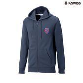K-Swiss Shield Logo JKT刷毛連帽外套-男-藍