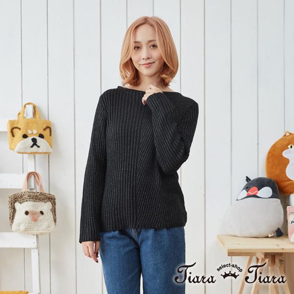 【Tiara Tiara】2 WAY針織長袖上衣(白/黑)