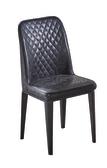 【 IS空間美學】格林黑菱格皮鐵藝餐椅