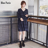 藍色巴黎 - 韓版甜美荷葉V領繫帶寬鬆長袖格紋連身裙 洋裝 娃娃裝【28792】