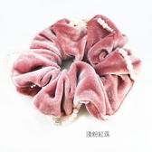 【粉紅堂 髮飾】柔美珍珠絨布大腸圈髮束 *淺粉紅色珠 / 奶油色珠*