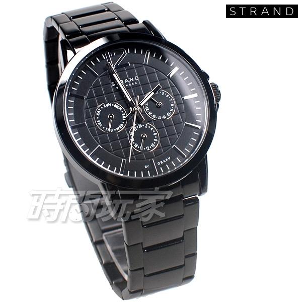 STRAND BY OBAKU 格紋 視線 賽車錶 三眼多功能錶 IP黑電鍍 不銹鋼 男錶 S709GMBBSB