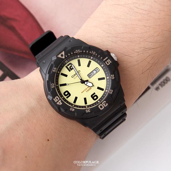 CASIO卡西歐 黃色潛水風運動膠錶 防水100米【NEC100】
