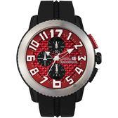 Tendence 天勢表 DOME 前衛三眼計手錶-紅x黑/47mm TY016005