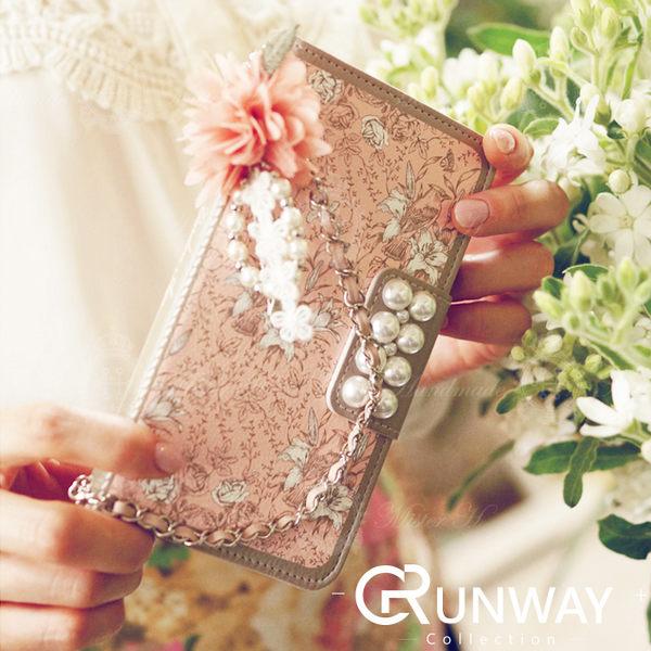 【R】韓SAMSUNG 三星 iphone6 plus手機殼 珍珠 粉色 藍色 碎花 皮套 手提 掛繩 保護套 s6 edge plus