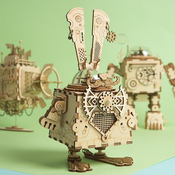 Robotime 【RB001】買1送1 幸運邦尼/蒸氣龐克 木質立體拼圖音樂盒 一個