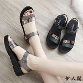平底女鞋中老年厚底中跟媽媽鞋涼鞋
