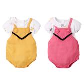 短袖套裝 泡泡袖上衣 吊帶褲 連身短褲 女寶寶 2件組 Augelute Baby 60352