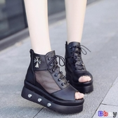 貝貝居 楔型涼鞋 涼鞋 坡跟 厚底 魚嘴鞋 高幫 網面 鬆糕 高跟鞋