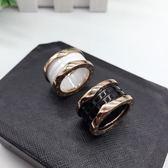 寬版時尚黑白色陶瓷戒指男女情侶款食指環尾戒子【滿1元享受88折優惠】