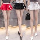 褲裙超短裙女夏21新款高腰牛仔短褲裙女百搭a字半身裙荷葉邊包臀裙10日 快速出貨
