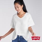 Levis 女款 V領短袖素T恤 / 簡約白