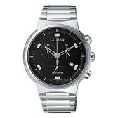 【台南 時代鐘錶 CITIZEN】星辰 光動能 極簡時尚腕錶 AT2400-81E 銀/黑 41mm