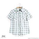 【INI】經典百搭、日系森林格紋休閒上衣.綠色