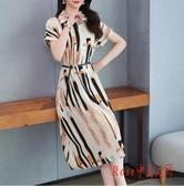 短袖印花中長款雪紡連身裙洋裝2020新款夏季桔梗裙氣質時尚襯衫裙女 OO9789【Rose中大尺碼】