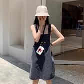 春秋新款減齡刺繡流行裙子寬鬆牛仔背帶裙女小個子套裝洋裝 夏季新品