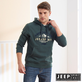 【JEEP】經典美式長袖刷毛連帽TEE (綠色)