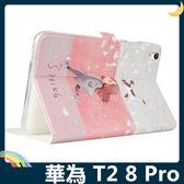 HUAWEI MediaPad T2 8 Pro 卡通彩繪保護套 十字紋側翻皮套 可愛塗鴉 支架 磁扣 平板套 保護殼 華為