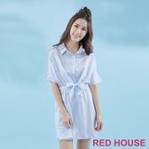【RED HOUSE 蕾赫斯】條紋小蝴蝶結襯衫洋裝(共3色)-單一特價