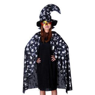 萬聖節服裝1.2米大人銀南瓜披風+彎頭巫師帽+金粉尖頭221g