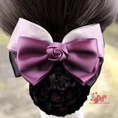 盤髮網 頭花女 職業網兜成人盤髮髮套銀行髮夾工作頭飾護士頭花髮網 3色