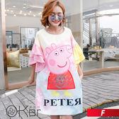 寬鬆粉紅小豬印花長版喇叭袖T恤 F O-ker歐珂兒 168807