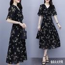 蕾絲洋裝碎花連身裙女2020夏季新款收腰顯瘦氣質長裙時尚洋氣減齡裙子 HR236【俏美人大呎碼】