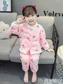 睡衣女童法蘭絨睡衣秋冬加厚女寶寶保暖珊瑚絨開衫冬季小童兒童家居服 嬡孕哺