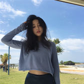 上衣女夏長袖防曬衣短款T恤衫(4色)