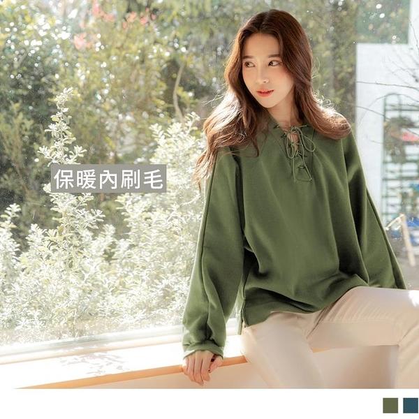 《AB14280-》台灣製造。休閒V領綁帶長袖衛衣大學T上衣 OB嚴選