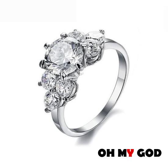 OH MY GOD新款閃亮水鑽鈦鋼戒指