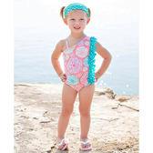 美國RuffleButts 女寶寶 連身式泳裝 粉彩繪【RUSWSWHPINK】