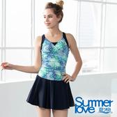 【Summer Love 夏之戀】加大碼顯瘦連身帶裙泳裝(S19718)