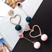 日韓耳環女S925純銀簡約鑲鉆絨球個性愛心不對稱耳釘ins少女耳飾