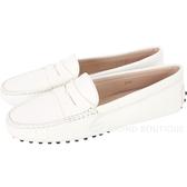 TOD'S Gommino 經典牛皮休閒豆豆鞋(女鞋/米白色) 1440255-03
