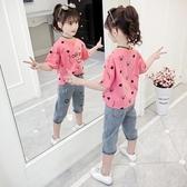 女童T恤2020新款夏裝中大童圓領短袖上衣女孩卡通寬鬆印花體恤潮 歐歐