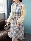 洋裝 大碼連身裙秋季韓版格子拼接收腰綁帶圓領長袖連身裙女NB11快時尚