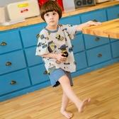 兒童睡衣短袖純棉夏季薄款男童半袖家居服套裝寶寶夏天空調服男孩 滿天星