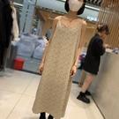 FST小碎花吊帶洋裝女2021早春新款法式復古v領氣質內搭雪紡長裙 設計師