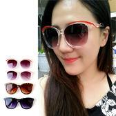 搶眼時尚 百搭雙色流線圓框墨鏡 圓形大框 太陽眼鏡