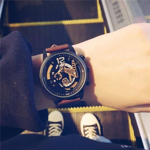 男生手錶 無指針手表男初高中學生韓版簡約 潮流 休閒潮牌歐美個性霸氣【快速出貨八折鉅惠】