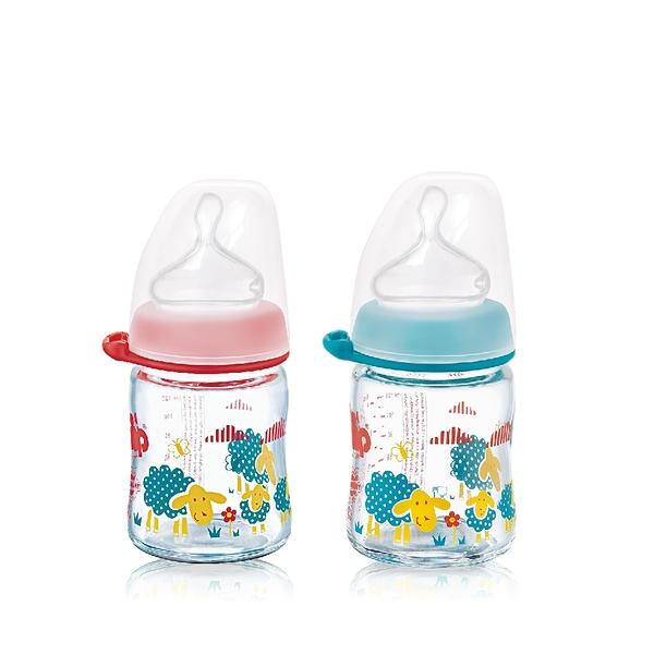 nip 德國拇指型防脹氣玻璃奶瓶-120ml 紅/藍 (M號奶嘴) x 1 G-35082/G-35083