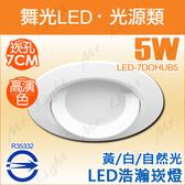 【有燈氏】舞光 浩瀚 5W LED 崁燈 7公分 7cm 高亮度 白 黃 自然光 調角度【LED-7DOHUB5】